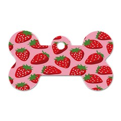 Fruitb Red Strawberries Dog Tag Bone (One Side)