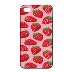 Fruitb Red Strawberries Apple iPhone 4/4s Seamless Case (Black)