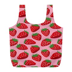 Fruitb Red Strawberries Full Print Recycle Bags (L)