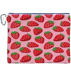 Fruitb Red Strawberries Canvas Cosmetic Bag (XXXL)