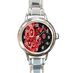 Gold Wheels Red Black Round Italian Charm Watch