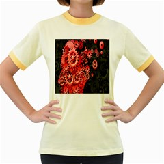 Gold Wheels Red Black Women s Fitted Ringer T-Shirts