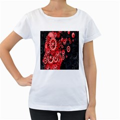 Gold Wheels Red Black Women s Loose-Fit T-Shirt (White)
