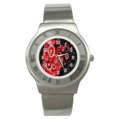 Gold Wheels Red Black Stainless Steel Watch