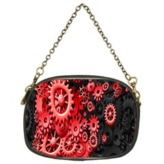 Gold Wheels Red Black Chain Purses (One Side)