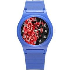 Gold Wheels Red Black Round Plastic Sport Watch (S)