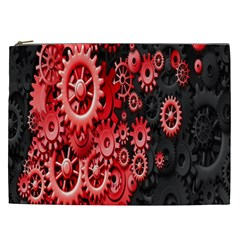 Gold Wheels Red Black Cosmetic Bag (XXL)