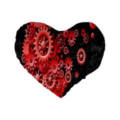 Gold Wheels Red Black Standard 16  Premium Heart Shape Cushions