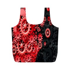 Gold Wheels Red Black Full Print Recycle Bags (M)