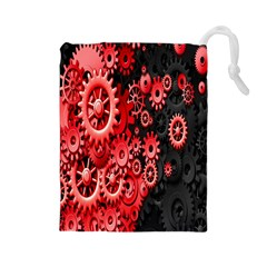 Gold Wheels Red Black Drawstring Pouches (Large)