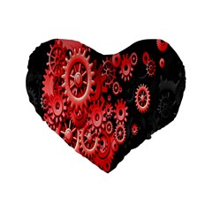 Gold Wheels Red Black Standard 16  Premium Flano Heart Shape Cushions