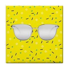 Glasses Yellow Tile Coasters