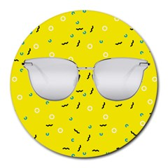 Glasses Yellow Round Mousepads