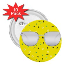 Glasses Yellow 2 25  Buttons (10 Pack)