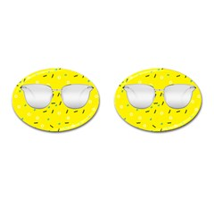 Glasses Yellow Cufflinks (oval)