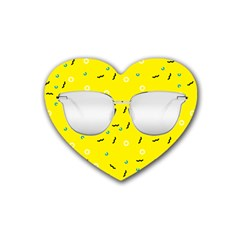 Glasses Yellow Heart Coaster (4 Pack)