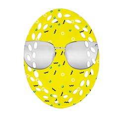 Glasses Yellow Oval Filigree Ornament (Two Sides)