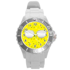 Glasses Yellow Round Plastic Sport Watch (L)