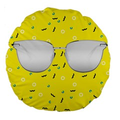 Glasses Yellow Large 18  Premium Round Cushions