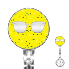 Glasses Yellow Stainless Steel Nurses Watch