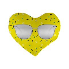 Glasses Yellow Standard 16  Premium Flano Heart Shape Cushions