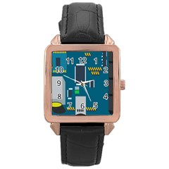 Amphisbaena Two Platform Dtn Node Vector File Rose Gold Leather Watch