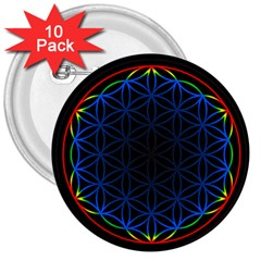 Flower Of Life 3  Buttons (10 pack)