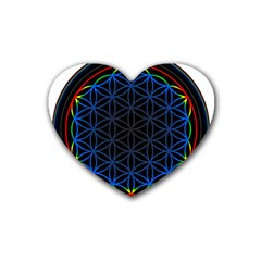 Flower Of Life Rubber Coaster (Heart)