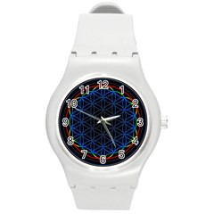 Flower Of Life Round Plastic Sport Watch (m)