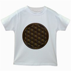 Flower Of Life Kids White T-Shirts