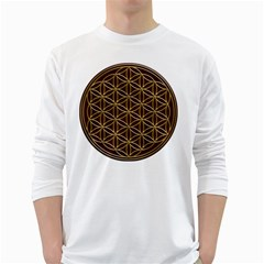 Flower Of Life White Long Sleeve T-Shirts