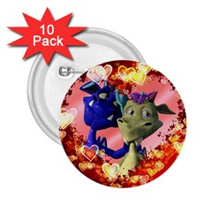 Ove Hearts Cute Valentine Dragon 2.25  Buttons (10 pack)