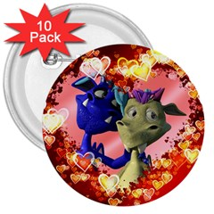 Ove Hearts Cute Valentine Dragon 3  Buttons (10 pack)