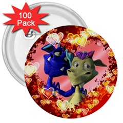 Ove Hearts Cute Valentine Dragon 3  Buttons (100 pack)