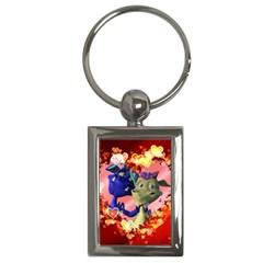 Ove Hearts Cute Valentine Dragon Key Chains (Rectangle)