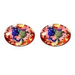 Ove Hearts Cute Valentine Dragon Cufflinks (Oval)
