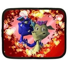 Ove Hearts Cute Valentine Dragon Netbook Case (large)