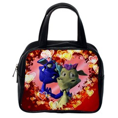 Ove Hearts Cute Valentine Dragon Classic Handbags (One Side)