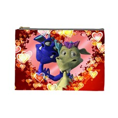 Ove Hearts Cute Valentine Dragon Cosmetic Bag (large)