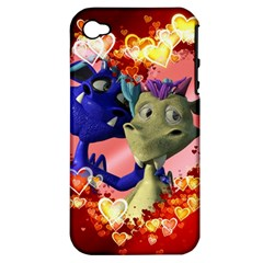 Ove Hearts Cute Valentine Dragon Apple iPhone 4/4S Hardshell Case (PC+Silicone)