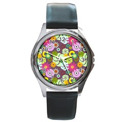 Floral Seamless Rose Sunflower Circle Red Pink Purple Yellow Round Metal Watch