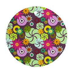 Floral Seamless Rose Sunflower Circle Red Pink Purple Yellow Ornament (Round)