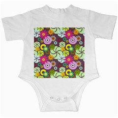 Floral Seamless Rose Sunflower Circle Red Pink Purple Yellow Infant Creepers