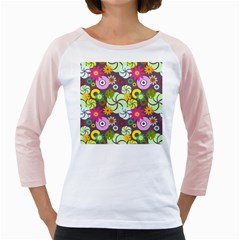 Floral Seamless Rose Sunflower Circle Red Pink Purple Yellow Girly Raglans