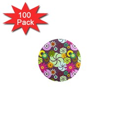 Floral Seamless Rose Sunflower Circle Red Pink Purple Yellow 1  Mini Magnets (100 Pack)