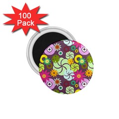 Floral Seamless Rose Sunflower Circle Red Pink Purple Yellow 1 75  Magnets (100 Pack)