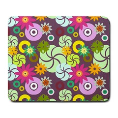Floral Seamless Rose Sunflower Circle Red Pink Purple Yellow Large Mousepads