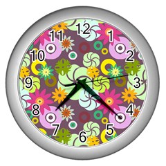 Floral Seamless Rose Sunflower Circle Red Pink Purple Yellow Wall Clocks (Silver)