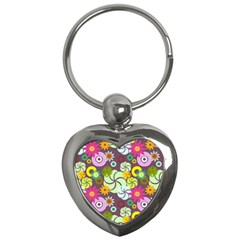 Floral Seamless Rose Sunflower Circle Red Pink Purple Yellow Key Chains (heart)