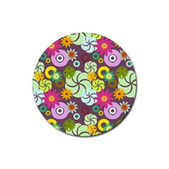 Floral Seamless Rose Sunflower Circle Red Pink Purple Yellow Rubber Coaster (Round)